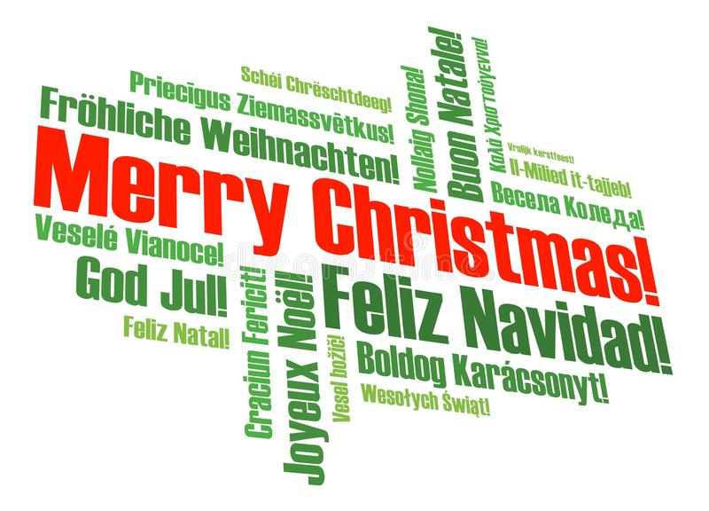Merry Christmas. A merry christmas tag cloud with many different languages vector illustration