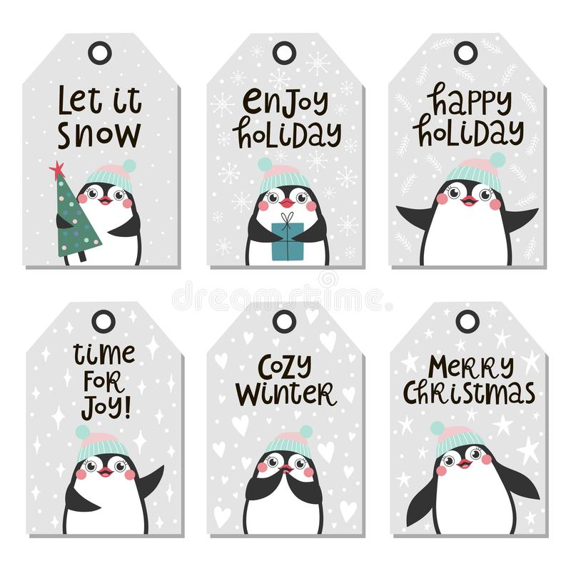 Christmas tags with cute penguins. royalty free illustration