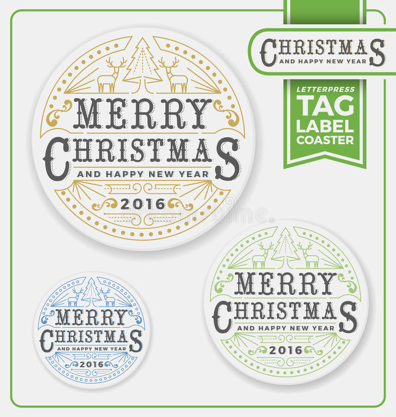 Merry Christmas Tags, Label, Coaster Letterpress Design. Letterpress frame design. Christmas tree and two reindeer. Expand and un-expand line vector vector illustration