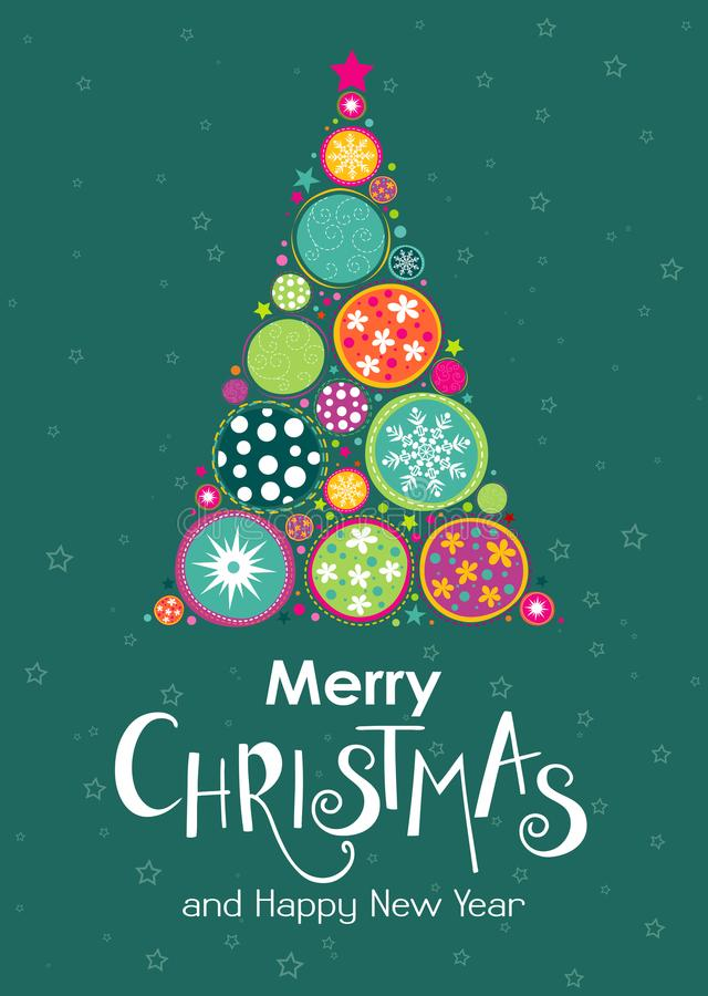 Merry Christmas template for banner or poster. Holiday lettering stock illustration