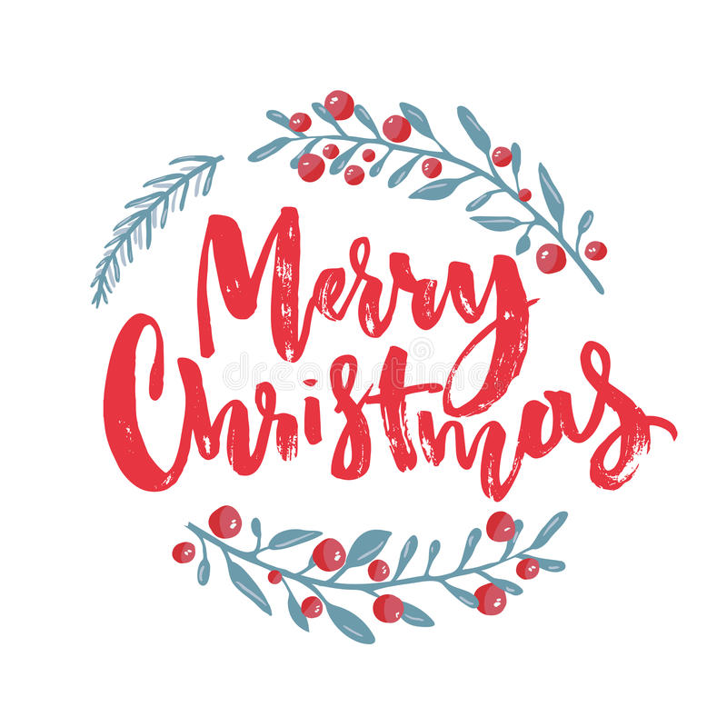 Merry Christmas text decorated with hand drawn branches with red berries. Greeting card design element. Red brush vector illustration