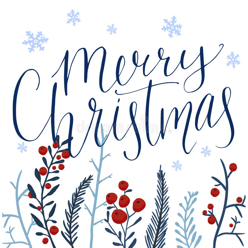 Merry Christmas text and hand drawn winter royalty free illustration
