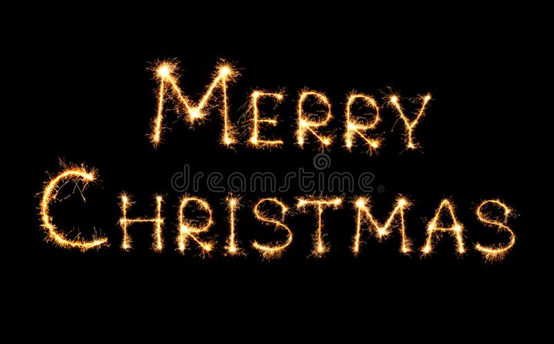 Merry Christmas text isolated on black background stock illustration