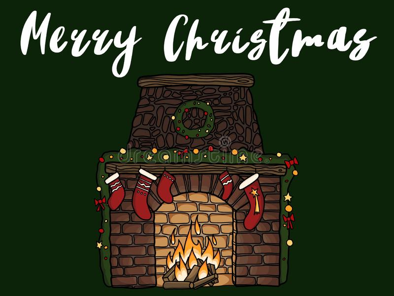 Merry Christmas text, handwritten sign on christmas fireplace wi vector illustration