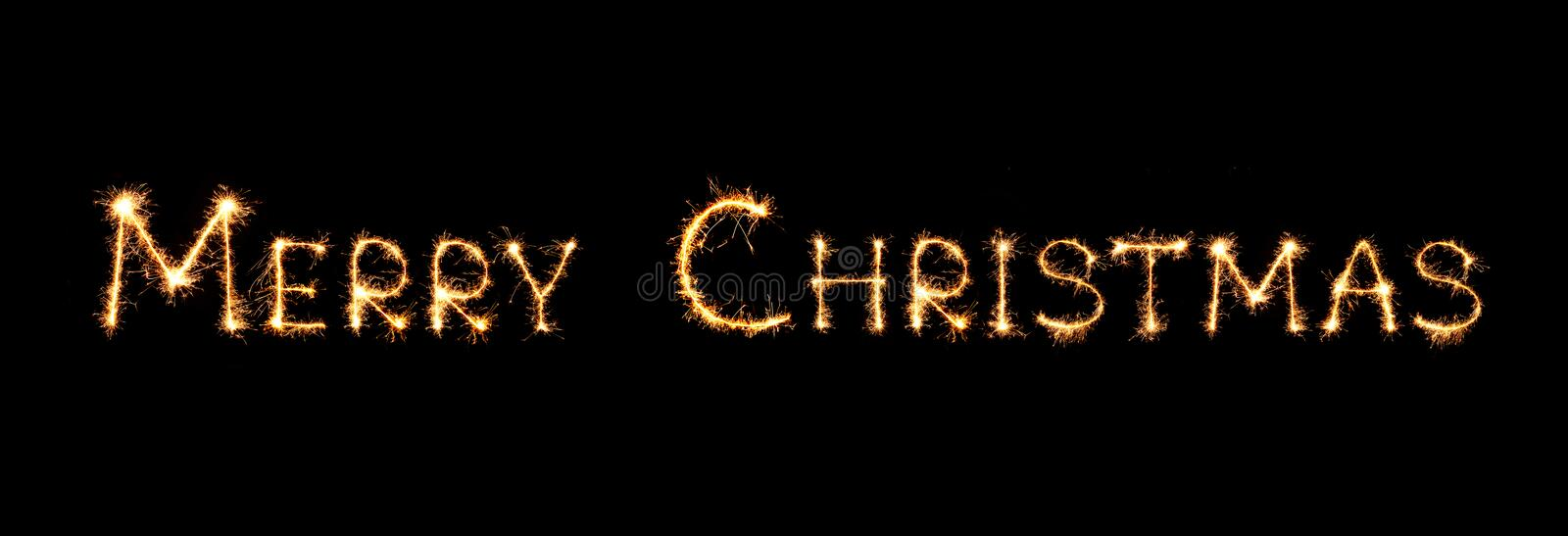 Merry Christmas text isolated on black background vector illustration