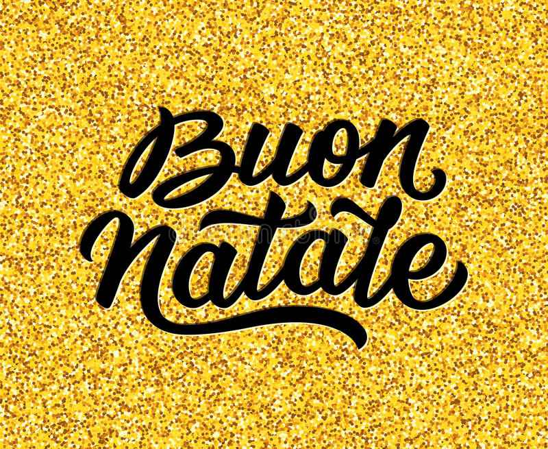 Merry Christmas text in italian. Vector background. Merry Christmas hand lettering text in italian on golden background. Vector illustration for Xmas with season stock illustration