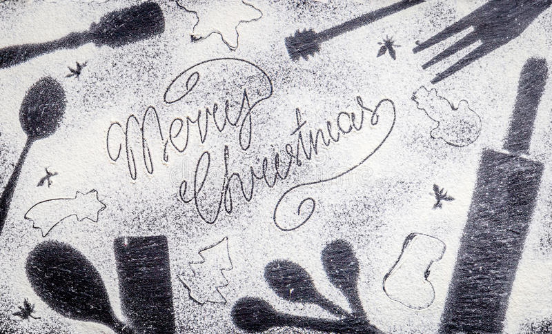 Merry Christmas Text made with Flour on Amazing Christmas Background. Horizontal View royalty free stock photos