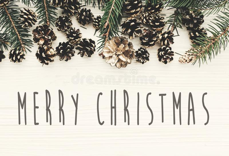 Merry Christmas text on modern christmas flat lay with green fir. Branches, golden pine cones and stars. Season`s greetings card. Happy Holidays and Happy new royalty free stock photos