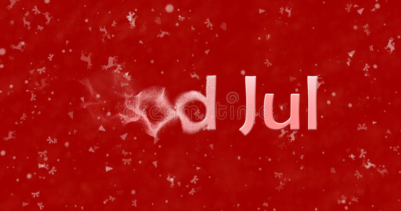 Merry Christmas text in Norwegian God Jul turns to dust from l. Eft on red background stock illustration