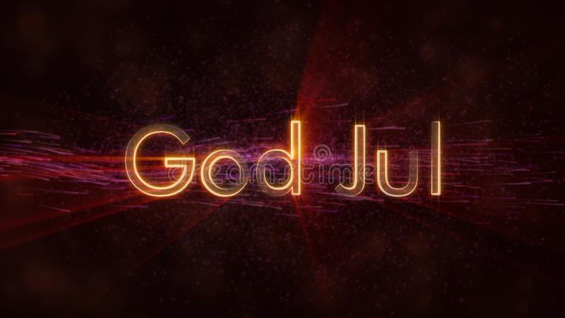 Merry Christmas text in Norwegian & Swedish God Jul loop animation over dark animated background. With swirling stars and floating lines stock illustration