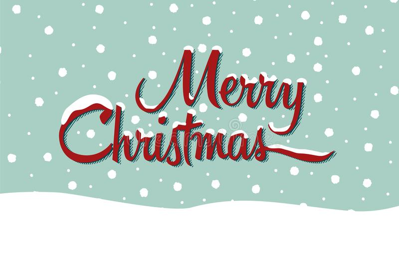 Merry Christmas. Text with a snowy background and settled snow on words vector illustration