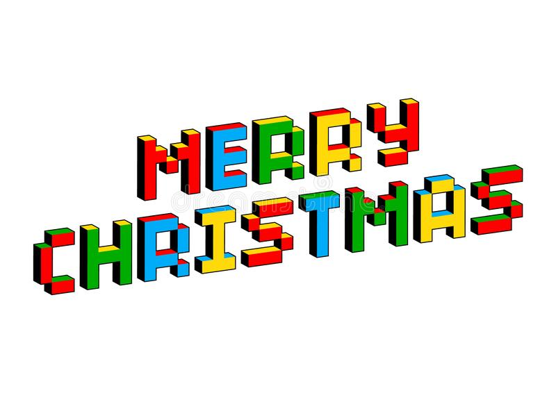 Merry Christmas text in style of old 8-bit video games. Vibrant colorful 3D Pixel Letters. Creative vector poster, flyer stock illustration