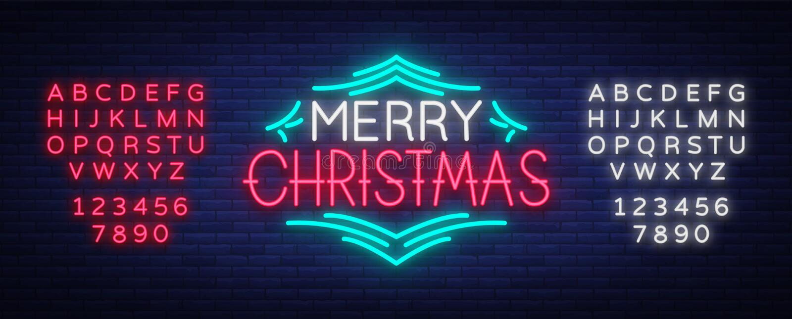 Merry Christmas text, template design letter template, cover in a neon style. Bright glowing banner, neon sign, night. Congratulation with Christmas. Vector vector illustration