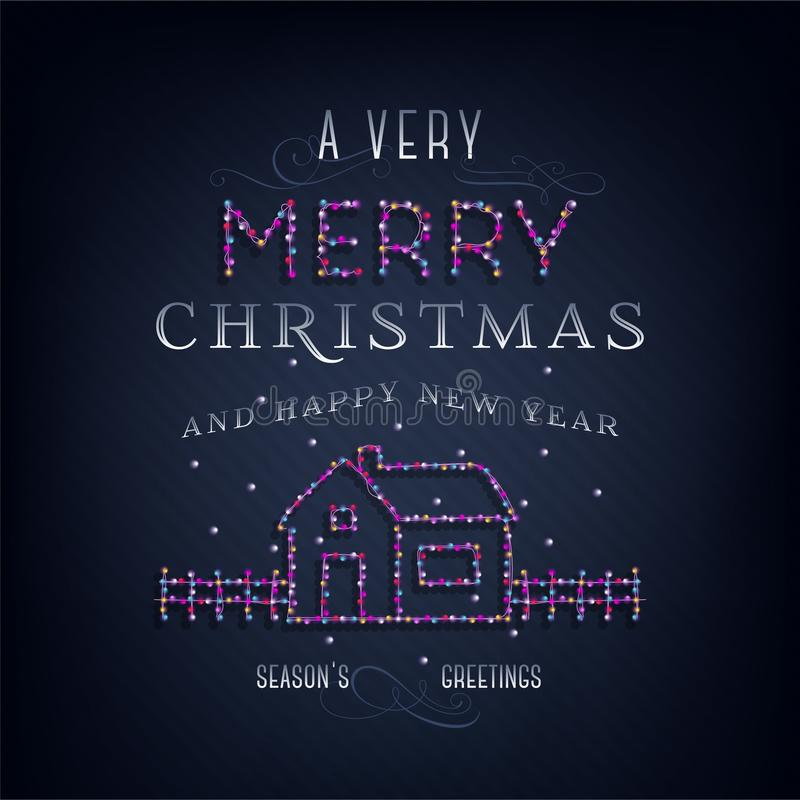 Merry Christmas text, template design letter template, Christmas lights. Bright glowing banner, neon lights, night congratulation. Vector illustration vector illustration