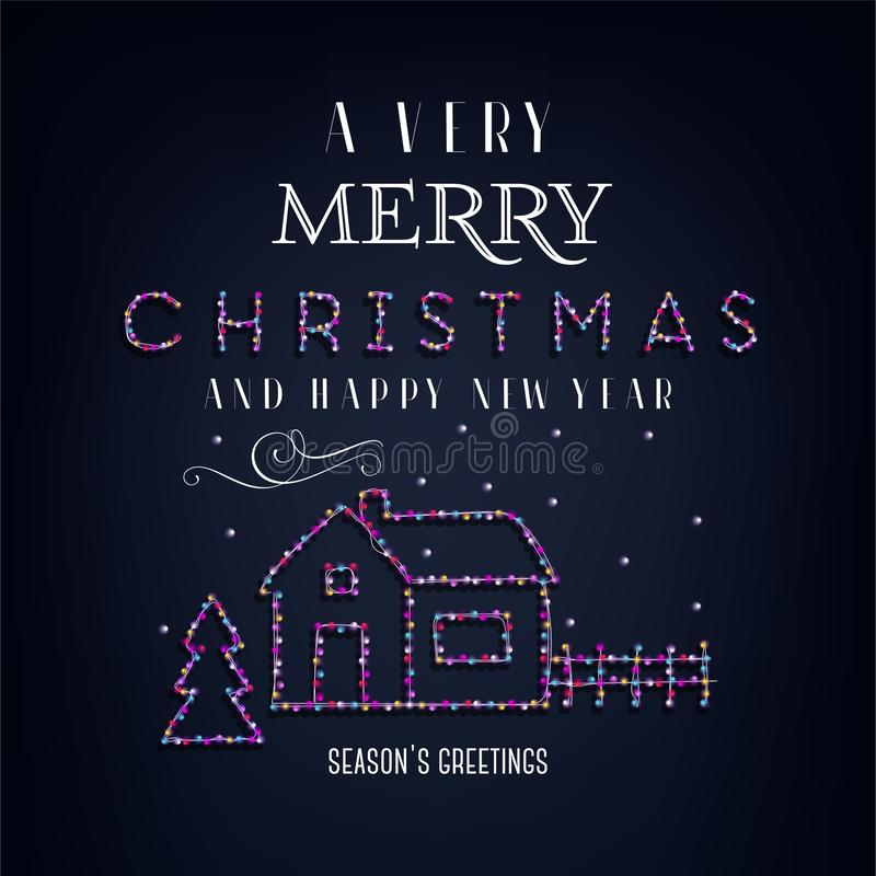 Merry Christmas text, template design letter template, Christmas lights. Bright glowing banner, neon lights, night congratulation. Vector illustration stock illustration
