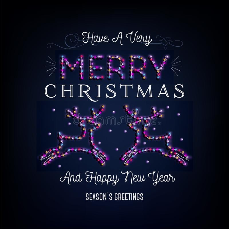 Merry Christmas text, template design letter template, Christmas lights. Bright glowing banner, neon lights, night congratulation. Vector illustration royalty free illustration