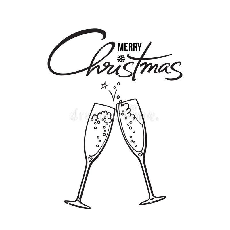 Merry Christmas text. Two glasses of champagne. Retro style vector illustration. vector illustration
