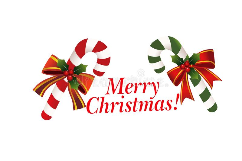 Merry Christmas text typography with candy cane on white background. royalty free stock images