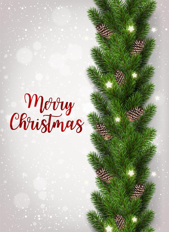 Merry Christmas Text on white background with garland of tree branches decorated with stars, lights, snowflakes. royalty free illustration