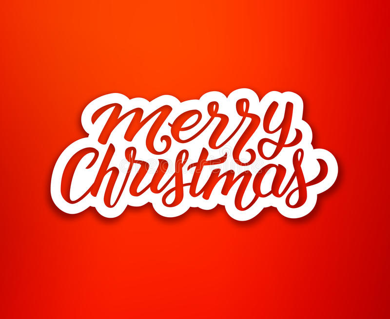 Merry Christmas text on white paper label. Merry Christmas calligraphic text on white paper label over red background. Sticker or greeting card vector design vector illustration
