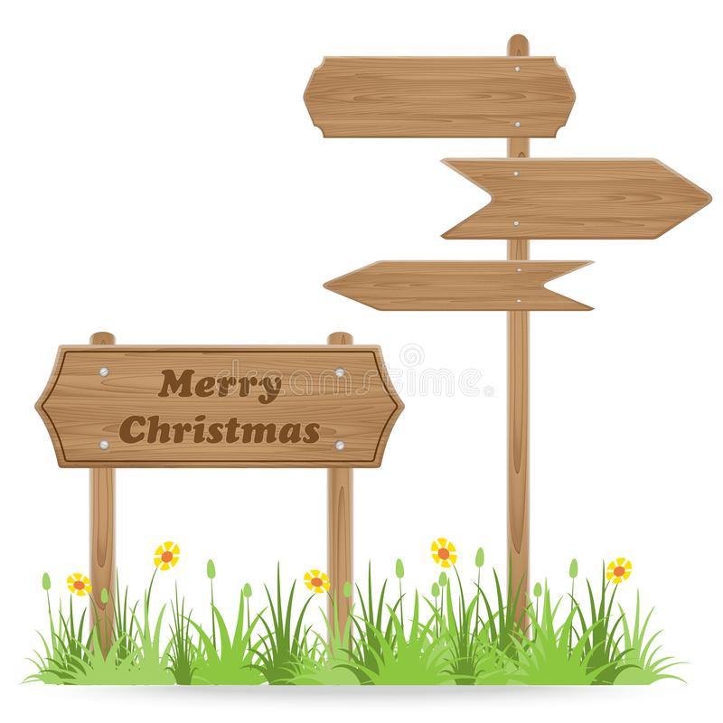 Merry Christmas text on Wooden signpost. With grass flower isolated on white. vector illustration vector illustration