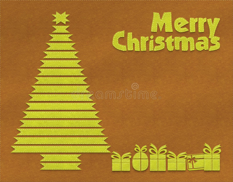 Merry Christmas textile background. Brown and lime green stitched textile Christmas background for greeting card with Christmass tree and presents vector illustration