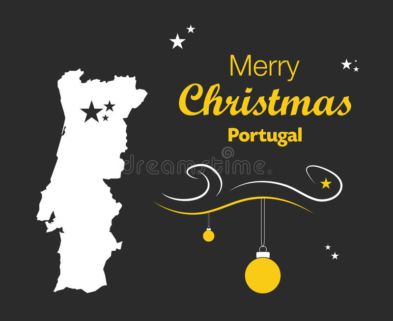 Merry Christmas theme with map of Portugal. Merry Christmas illustration theme with map of Portugal stock illustration