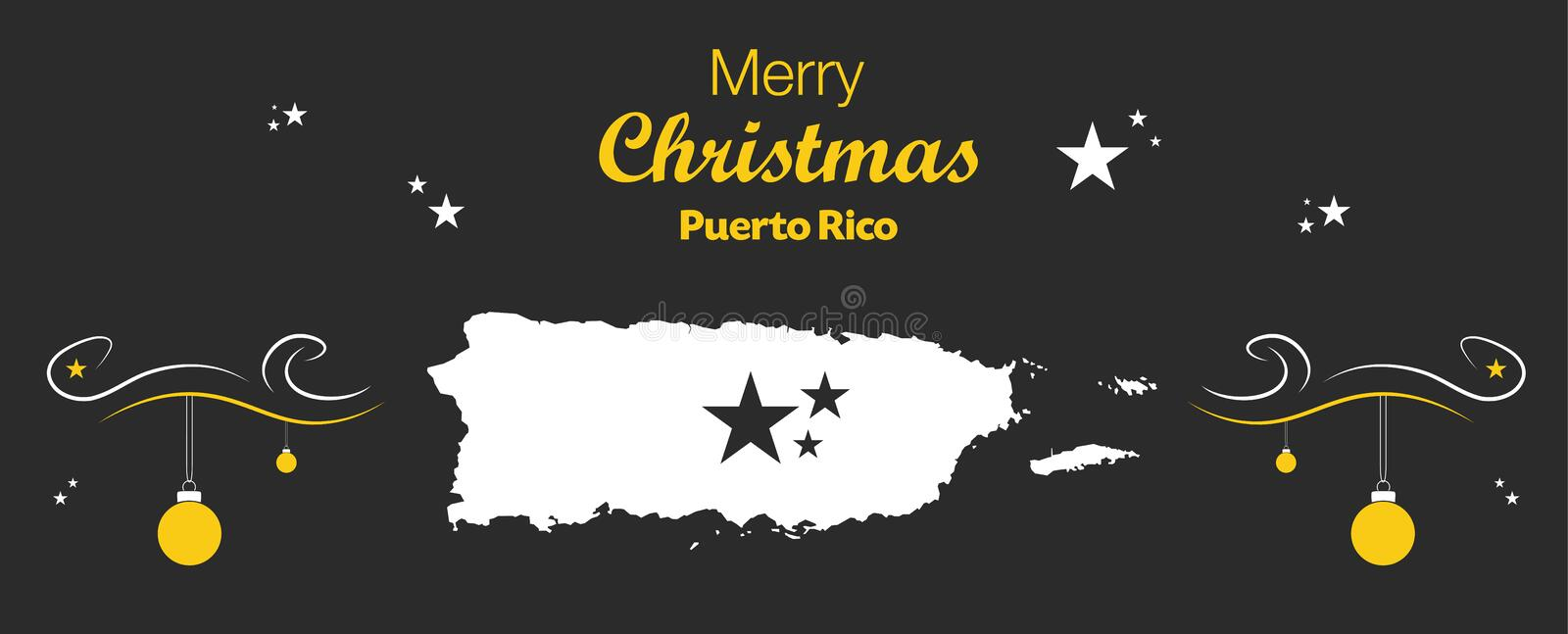 Merry Christmas theme with map of Puerto Rico stock illustration