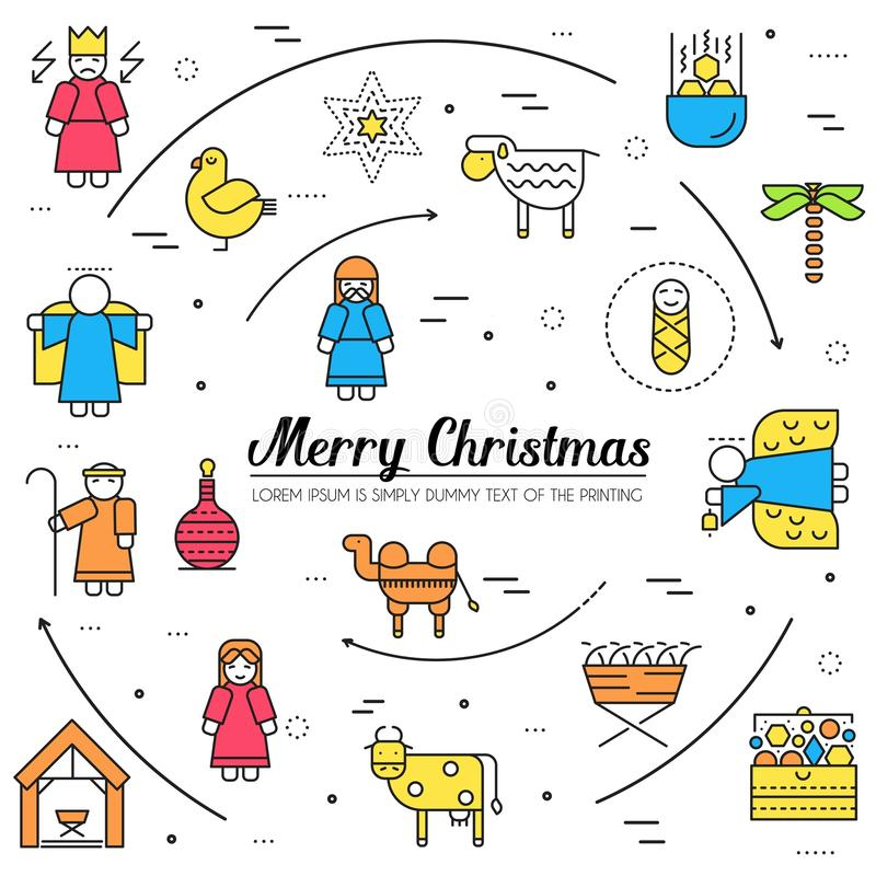 Merry Christmas thin line icons flat set background. Outline birth of Christ illustration background concept. stock illustration