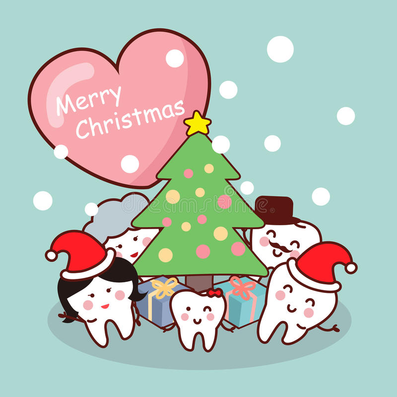 Merry christmas to tooth family royalty free illustration