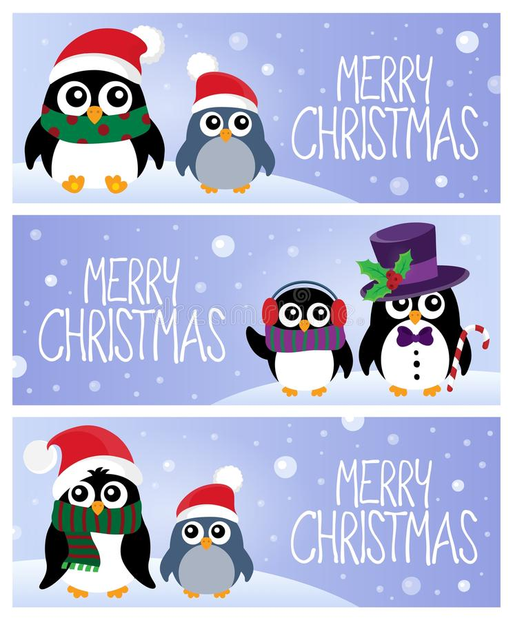 Merry Christmas topic banners 1 stock illustration