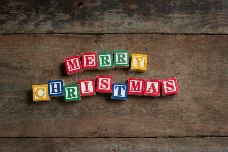 Merry Christmas toy blocks royalty free stock photo