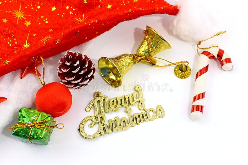 Merry Christmas toy and gift background stock image