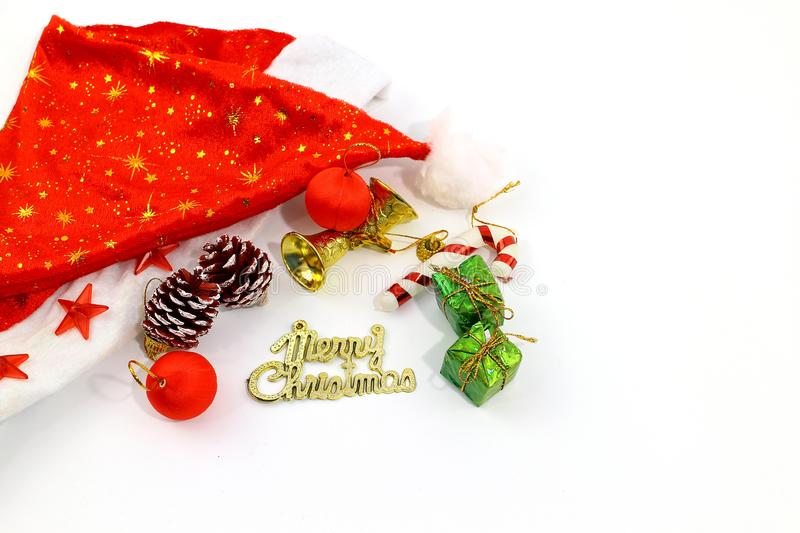 Merry Christmas toy and gift background stock photography