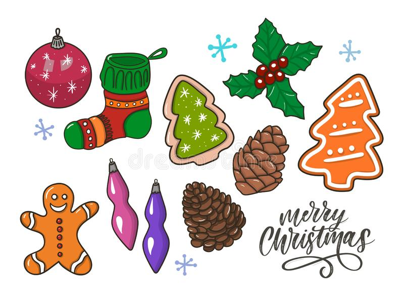 Merry Christmas traditional symbols in doodle style isolated on white background. Vector illustration of New Year attributes royalty free illustration