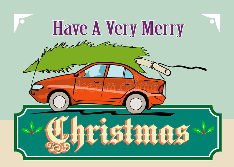 Download Merry Christmas Tree Car Automobile Stock Vector - Image: 26281782