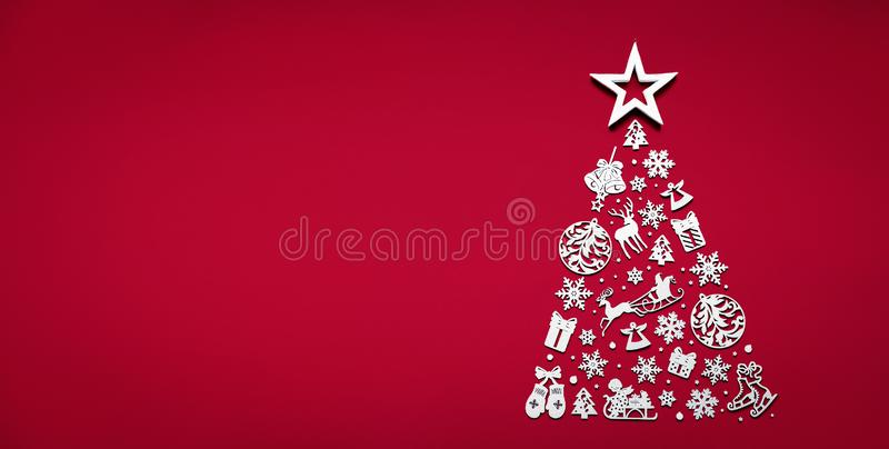Merry christmas tree concept made of white 2020 happy new year decorations star isolated on red background table minimal flat lay. Xmas winter holiday party royalty free stock image