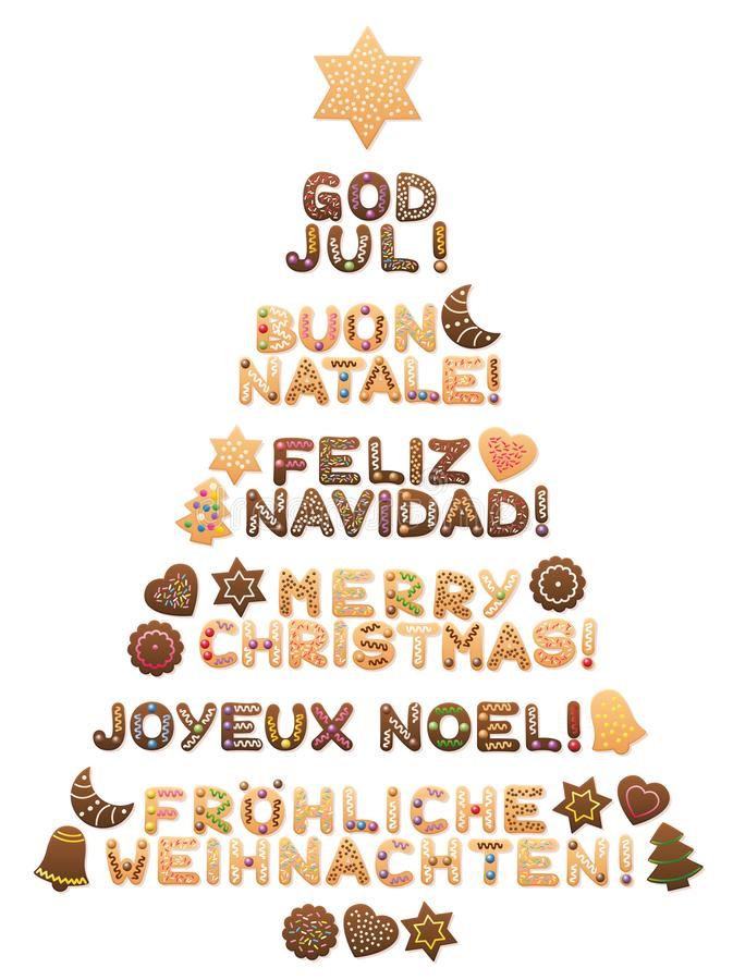 Merry Christmas Tree Different Languages. MERRY CHRISTMAS - written in swedish, italian, spanish, english, french and german language with cookies forming a royalty free illustration