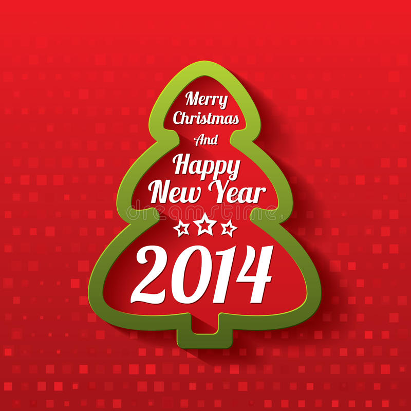 Merry christmas tree greeting card 2014 stock vector merry christmas tree greeting card christmas and happy new year lettering applique background 2014 m4hsunfo