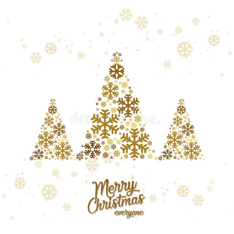 Merry Christmas tree postcard vector royalty free illustration