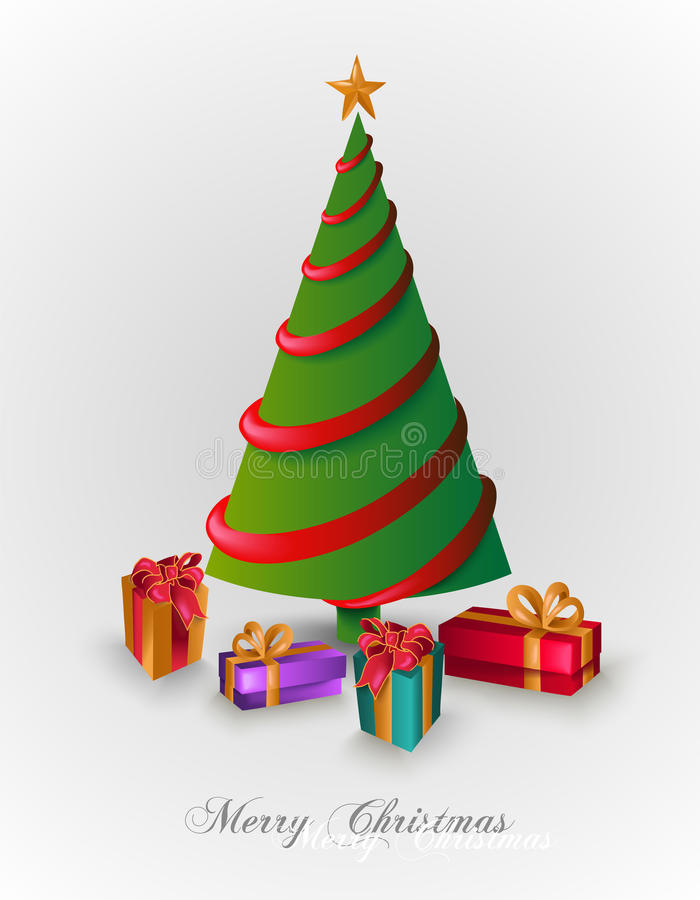 Merry Christmas tree with presents EPS10 file. royalty free stock photography
