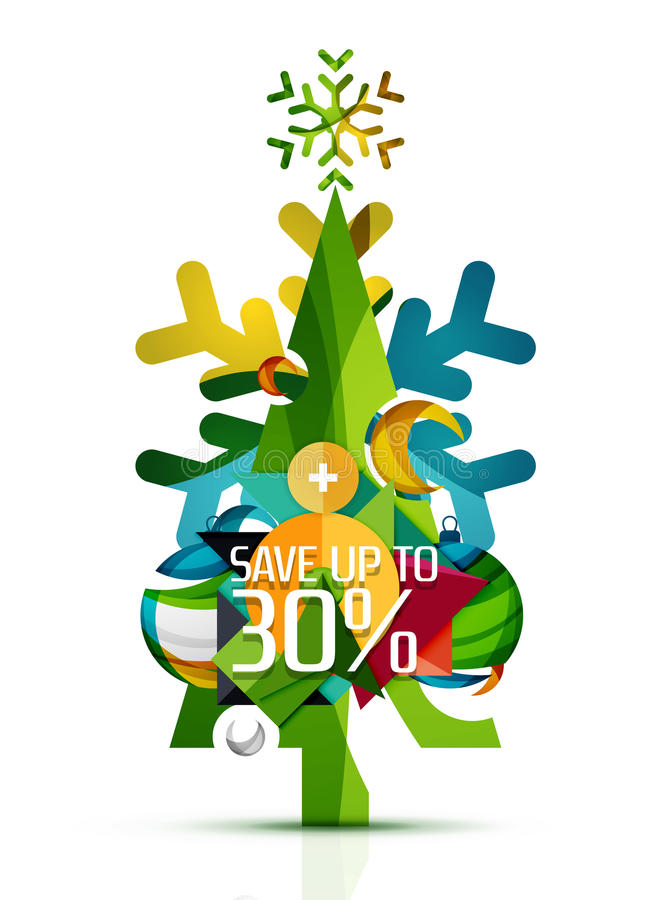 Merry Christmas tree with promotion commercial vector illustration