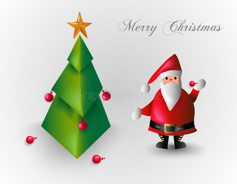 Merry Christmas tree and Santa Claus EPS10 file. stock images