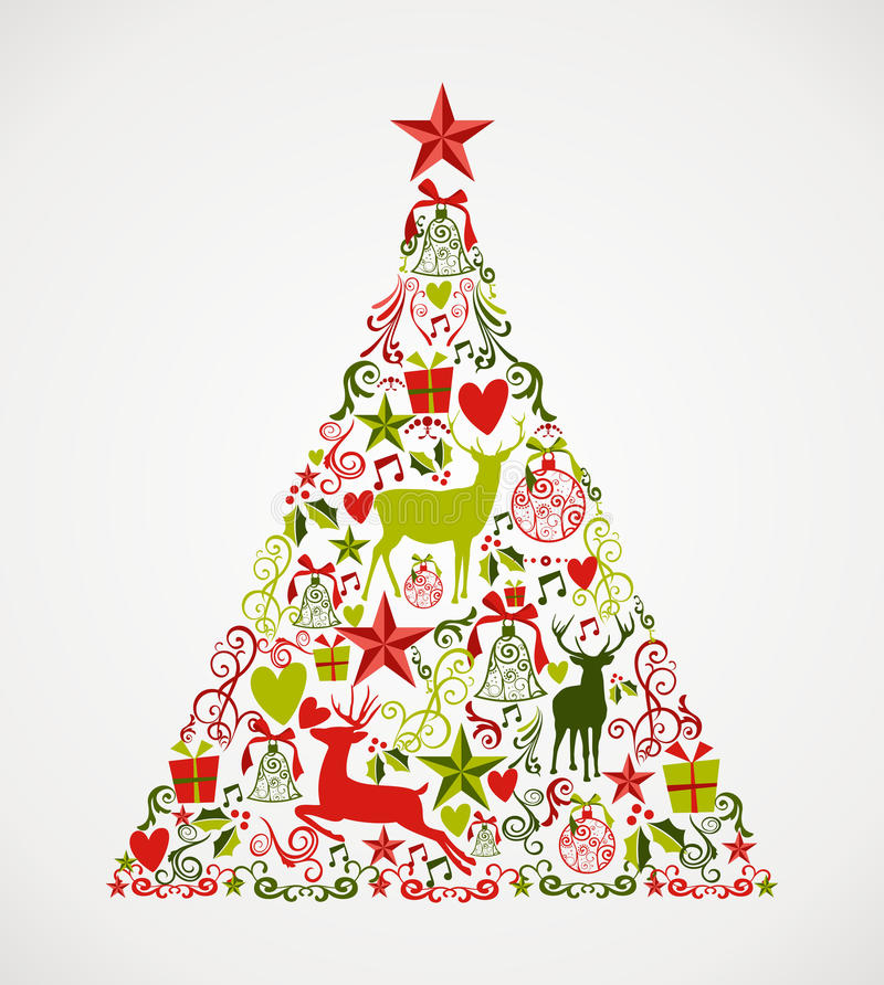 Merry Christmas tree shape full of elements compos royalty free illustration
