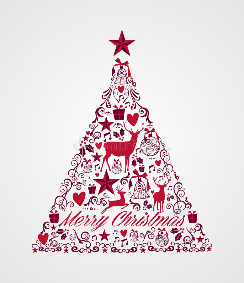 Merry Christmas tree shape full of elements compos royalty free stock photos