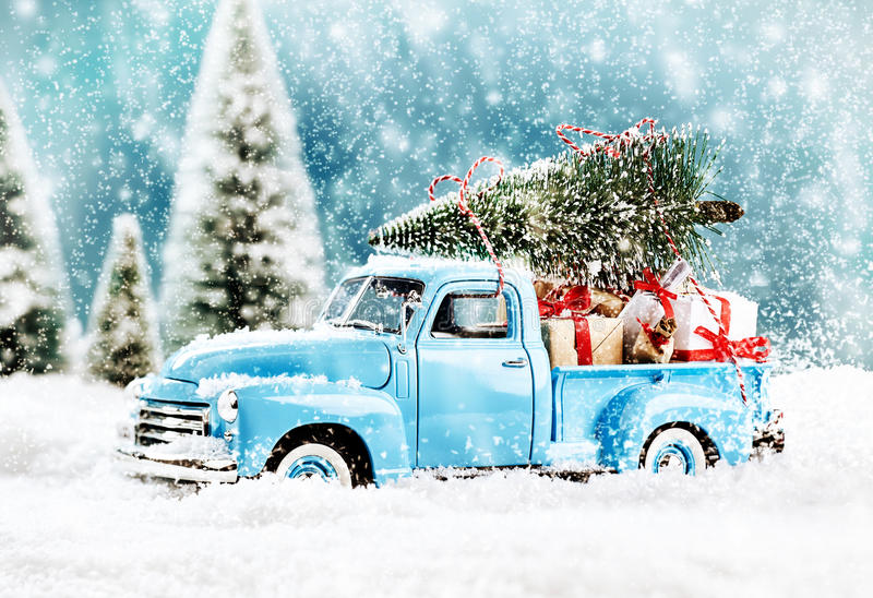 Merry Christmas tree transporter. Bringing gifts to all the sweethearts on x mas evening stock photography