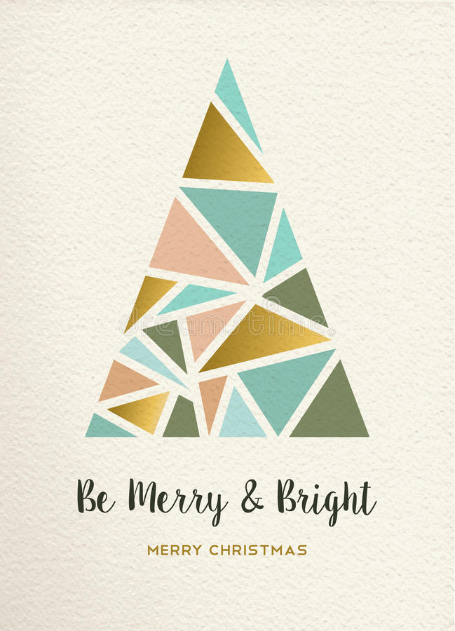 Merry christmas tree triangle gold vintage card vector illustration