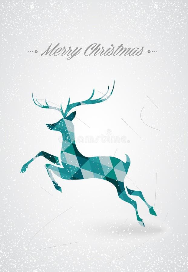 Merry Christmas Trendy Reindeer Postcard Stock Photo