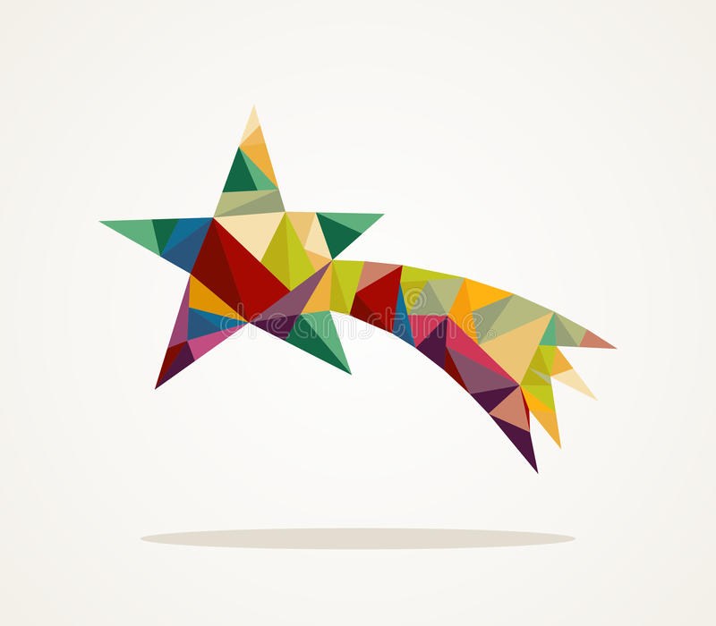 Merry Christmas trendy shooting star composition EPS10 file. stock illustration