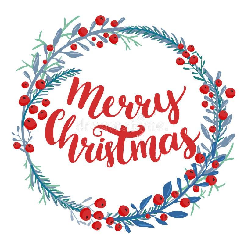 Merry Christmas type in wreath frame. Custom brush stock illustration